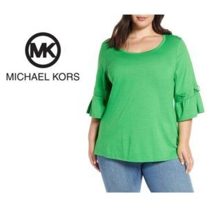 Michael Kors Green Lace Up Sleeve Tee Plus Sz 2X